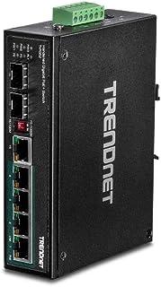 TRENDnet 6-Port Hardened Industrial Gigabit PoE+ DIN-Rail Switch,TI-PG62,4 x Gigabit PoE+ Ports, 1 x Shared Gigabit Port (...