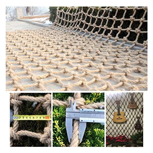 Safe Net Balcony Stair Protection Anti-fall Net Rope Net,Decoration Net Retro Industrial Style,Natural Jute Material,for Bar Bookstore,10mm/10cm,Multiple Sizes (Size : 3x7m)