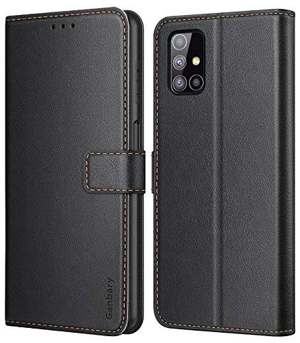 Ganbary Handyhülle für Samsung Galaxy M31s Hülle, Premium Leder Tasche Flipcase [Kartenschlitzen] [Magnetverschluss] [Standfunktion] kompatibel mit Samsung Galaxy M31s Schutzhülle, Schwarz