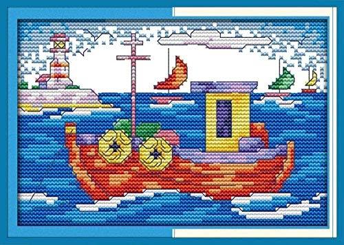 punto de cruz Kit-Barco de flores -Bordado de kit Cross stitch DIY adecuado para principiantes decoración del hogar 40x50 cm (lienzo preimpreso 11CT)