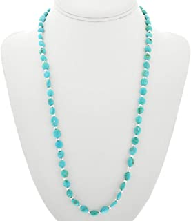 Turquoise Silver Bead Navajo Necklace Natural Sleeping Beauty Nuggets 3636