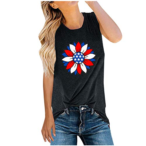 Women's Independence Day Sunflower Printed Casual Summer Sleeveless O-Neck T-Shirts Fashion Gym Fitness Tops for Women Black