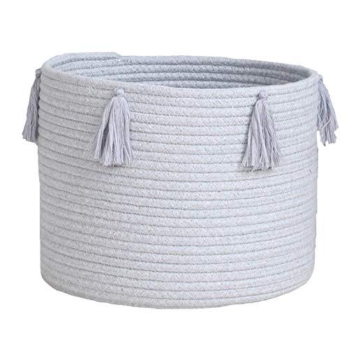 Yao Cesta de almacenamiento de cuerda de algodón natural, caja de almacenamiento plegable, cesta de lavandería, guardería, contenedor organizador para guardería, habitación de niños, juguetes