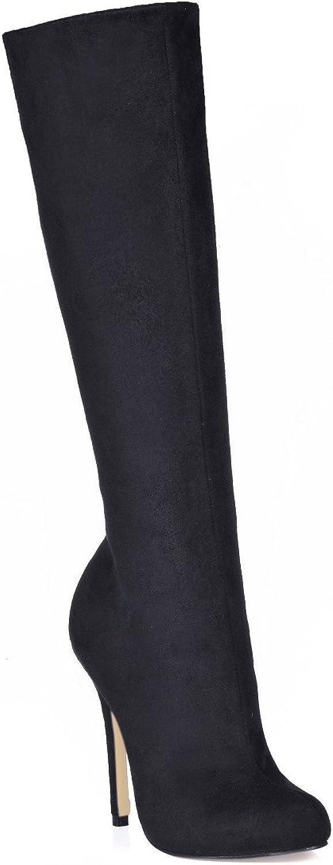Hohe und Stiefel das Mdchen Winter neue Produkte auf rotem Grund sinn Einfachheit Damen Stiefel schwarz Satin high-heel Schuhe
