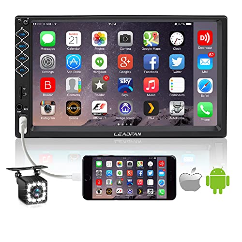 7 Inch Car Stereo Double Din Bluetooth Touch Screen FM Radio Car MP5 Player with Backup Camera, Car Entertainment Multimedia Hands Free Calling Support Mirror Link/USB/SD/AUX