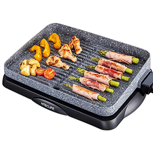 Electric Grill Indoor, Smokeless Stone-Derived Nonstick 14 inch Griddle Pan, 1500W Detachable Contact Grilling with Smart 5-Heat Controller , Family Size BBQ Tabletop Plate - Gray