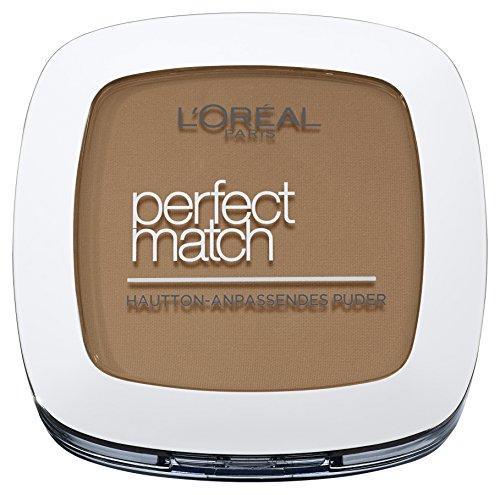 L'Oréal Paris Perfect Match Mattierendes Puder in 7.D/7.W Golden Amber, hautanpassend, verschmilzt perfekt mit dem Hautton, 9 g