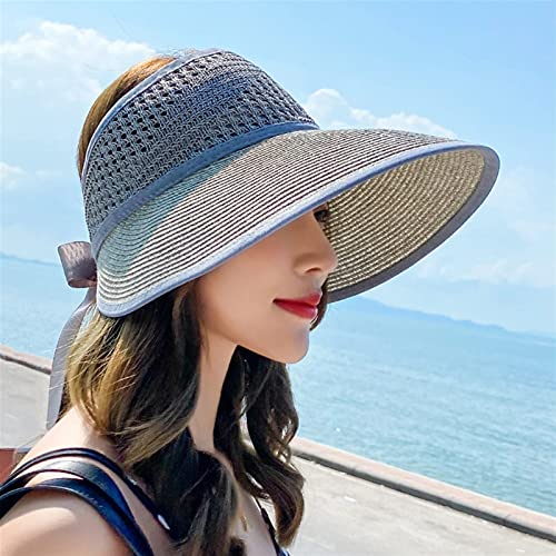 LAYBAY Sombrero Gorra Visera De Paja Playa para Mujer ala Grande Sombrero El Sol Superior Vacío Plegable Verano Pequeño Fresco Y Moderno De Sandalia El Sol 54~58 Cm (Color : 1, Size : 54~58cm)