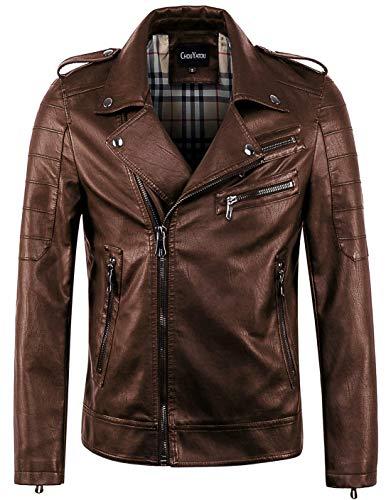 chouyatou Men's Vintage Asymmetric Zip Lightweight Faux Leather Biker Jacket (Large, Brown)
