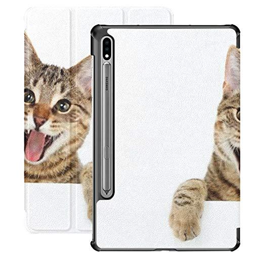 Funda Galaxy Tablet S7 Plus de 12,4 Pulgadas 2020 con Soporte para bolígrafo S, Gato de Bengala Mirando por Encima del Letrero Funda Protectora con Soporte Delgado para Samsung