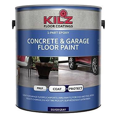 KILZ L377611 1-Part Epoxy Acrylic Interior/Exterior Concrete & Garage Floor Paint, Satin, Silver Gray, 1 gallon