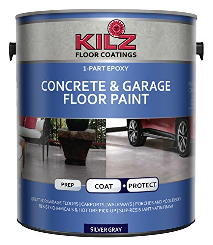 KILZ L377611 1-Part Epoxy Acrylic Interior/Exterior Concrete and Garage Floor Paint, Satin, Silver Gray, 1-Gallon, 1 Gallon, 4 l