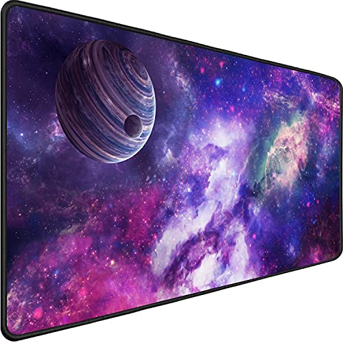 Extra Large Gaming Mouse Pad,Upgraded Ergonomic Extended Gaming Mouse Pad with Durable Stitched Edge,Waterproof Non-Slip Base for Gamer, Computer,Laptop, 31.5'x15.7'x0.12', Galaxy