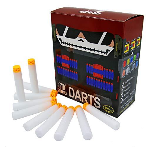 EKIND 100 Pcs 7.2cm TPR Waffles Soft Head Glow in The Dark Foam Darts Compatible for Nerf N-Strike AccuStrike Elite Series Blasters Toy Gun (White)