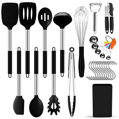 Tenflyer Silikon Kochgeschirr Set, Küchengerät 27 Stück Küchenhelfer Set, Antihaft Küchenutensilien Set, Hitzebeständig Kochutensilien Set mit Edelstahlgriff, BPA-frei, Einfach zu Reinigen, Schwarz