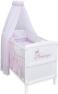 Baby Delux Babybett Kinderbett Juniorbett Komplettbett Princess Weiß 140� inkl. Matratze und Bettwäsche mit Stickerei