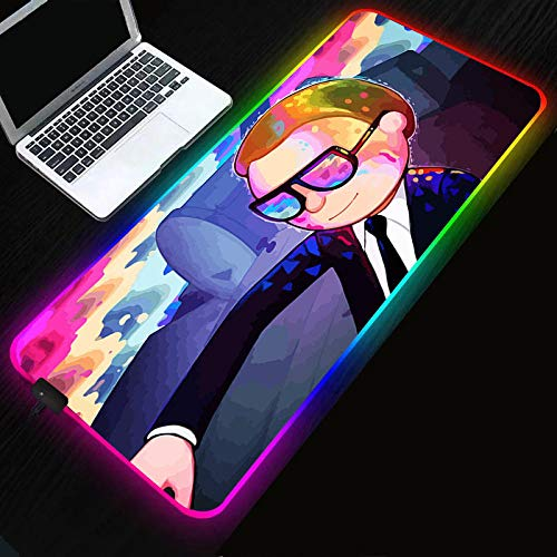 Alfombrilla de ratón de Anime XXL Rick y Morty, alfombrilla de ratón luminosa RGB, alfombrilla de ratón competitiva para juegos a prueba de agua, alfombrilla de mesa-Rick_and_Morty_400x900x4mm