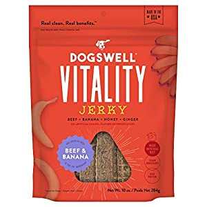 DOGSWELL Vitality Beef & Banana Jerky – Meaty Dog Treats with Banana, Honey & Ginger to Support Overall Health & Vitality – 10 oz.