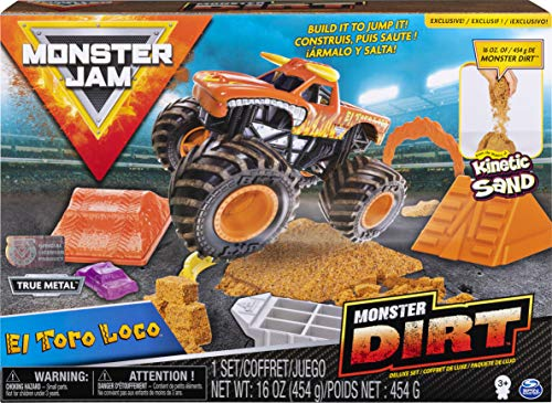 Monster Jam, El Toro Loco Monster Dirt Deluxe Set, Featuring 16oz of Monster Dirt and Official 1:64 Scale Die-Cast Monster Jam Truck