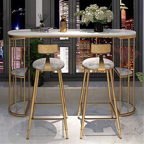 Anmy Bar Table Home Partition Sala de Estar Tienda Tienda Tabla y Silla Combinación Balcón Barra pequeña Mesa de Bar (Color : Gold, Size : 120x40x105cm)