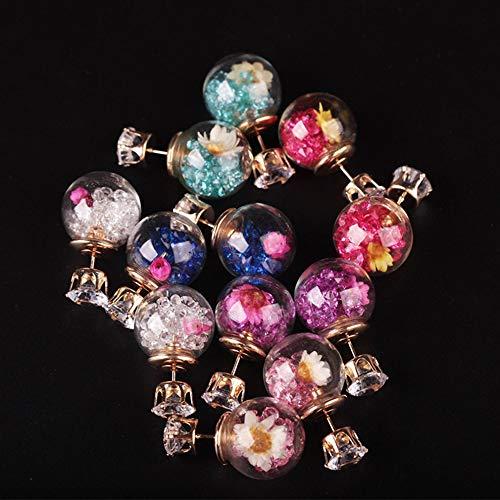 Greatangle-UK Bola de Cristal Pendientes de botón de Flor Seca Pendientes de Tendencia de Moda Accesorios de joyería Rosa Rojo