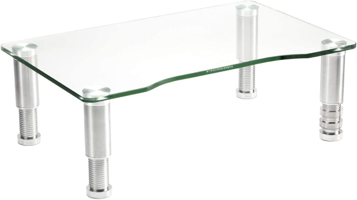 Clear Tempered Glass Computer Monitor Riser with Height Adjustable Multi Media Desktop Stand for Flat Screen LCD LED TV, Laptop/Notebook/Xbox One, HD01T-002 : Office Products