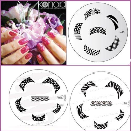 Bundle 5 pièces : Konad Plaque de nouvelles images M87, M88, M45 + Stamper & Scraper + A-viva Eco Lime à ongles