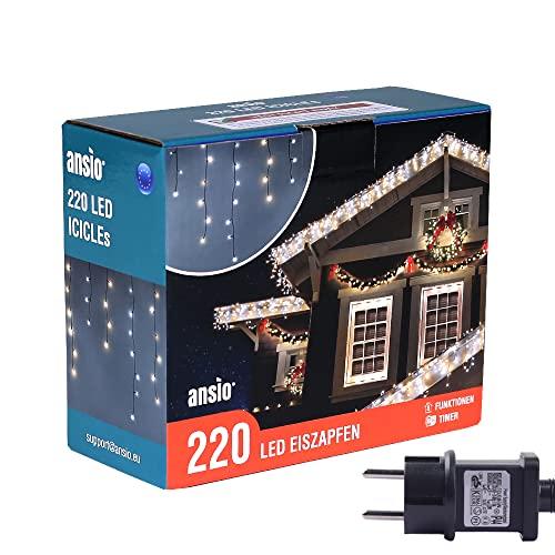 ANSIO® Luci Natale Esterno Cascata 7.5m 220 LED Luci di Natale Luminose Bianco Caldo e Fredda Luci Natalizie da Esterno/Interno Ideale per Mantello, Balcone Lucine Luminoso   Cavo Verde