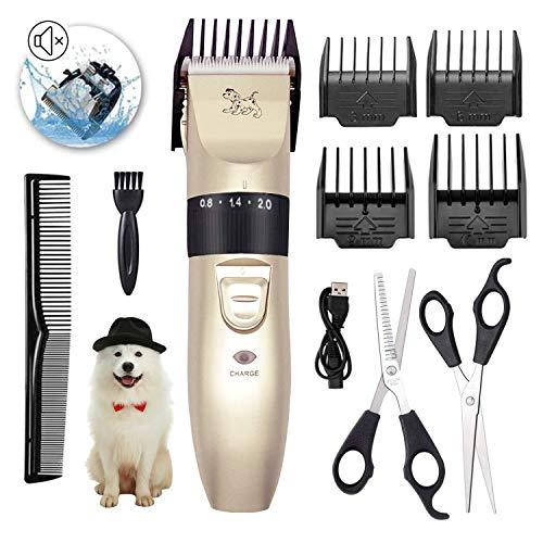 PTHTECHUS Kit Tosatrice Professionale per Cani Tagliacapelli Animali Gatto Ricaricabile Tosatore Elettrico 4 Pettine Testina Regolabile