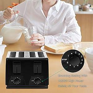 OZAVO Grille Pain Noir 4 Tranches Automatique 1300W Toaster Grille Pain Inox Professionnel 6 Niveaux Réglable 4 Fentes Plateau de Miettes Amovible Acier Inoxydable