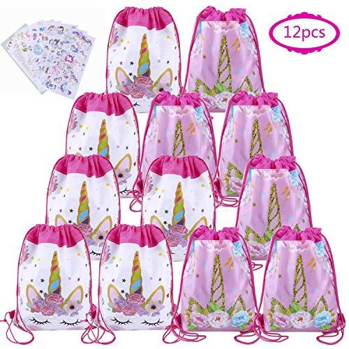 Einhorn Gastgeschenke Tasche Einhorn Beutel 12 für Mädchen Gastgeschenke bei Kindergeburtstagen Partytüten (rosa)