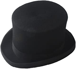 RongAi Chen Steampunk Mad Hatter Top Hat Victorian Vintage Traditional Wool Fedoras Hat Cylinder Hat Chimney Pot Hat
