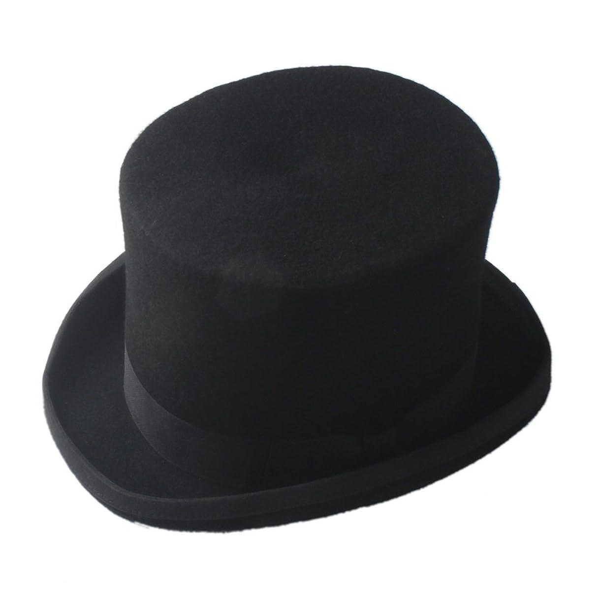 歯車交渉する拡散するFengheYQ ファッション格好良いスチームパンクマッドハッターシルクハットビクトリア朝ヴィンテージ伝統的なウールフェドラス帽子シリンダー帽子煙突ポット帽子 (Color : Black, Size : 61cm)