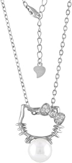 9515995ff Cat Necklace Jewelry Hello Kitty Style Sterling Silver CZ Cultured  Freshwater Pearl (White)