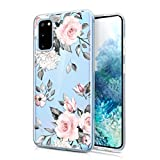 JAHOLAN Galaxy S20 Hülle Handyhülle TPU Silikon Weiche Schlank Schutzhülle Handytasche Flexibel Clear Hülle Handy Hülle für Samsung Galaxy S20 5G 6.2 Zoll - Flower Pink Leaves Gray
