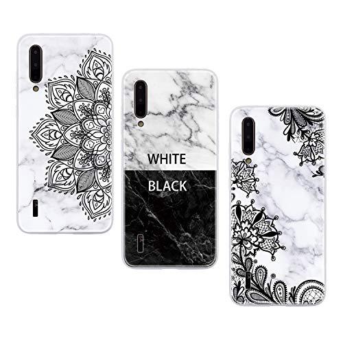 ChoosEU Compatible con 3X Fundas Xiaomi Mi 9 Lite / A3 Lite Silicona Dibujos Mármol Creativa Carcasas para Chicas Mujer Hombres TPU Case Antigolpes Bumper Cover Caso Protección - Negro Blanco, Flor