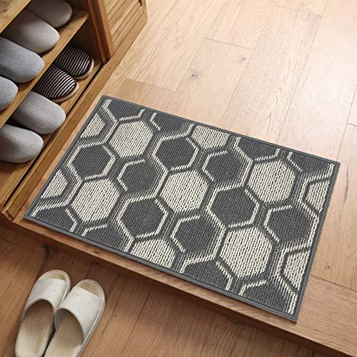 """AICOK Indoor Door Mat 24""""x 36"""", Non Slip Absorbent Resist Dirt Entryway Door Rug, Front Back Door Mat Inside Floor Mats, Machine Washable, Low-Profile (Grey)"""