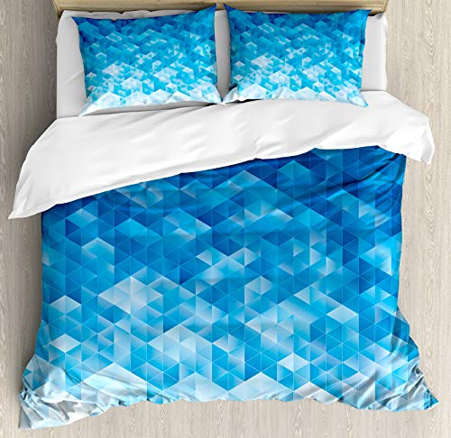 4 PCS Duvet Cover Set Luxurious&Comforter Microfiber Bedding Cover Sets Perfect for Adults Kids Teen Geometric, Geometric Gradient Digital Texture with Mosaic Triangle Pixel Graphic Print Art Queen