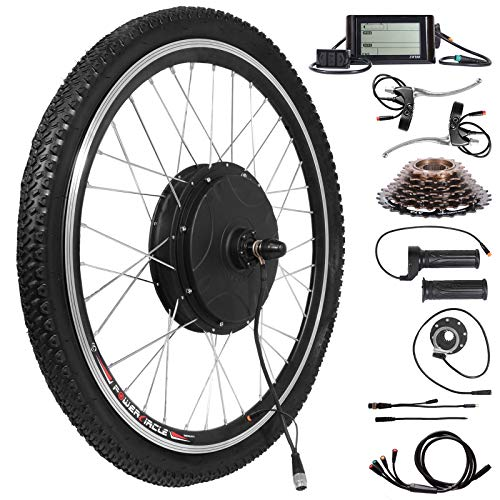 """Voilamart 26"""" Rear Wheel Electric Bicycle Conversion Kit, 48V 1500W E-Bike Motor Kit with LCD Display, Built-in Programmable Controller and PAS System, 750W Power Limited for Road Bike"""