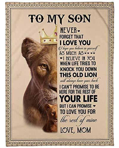 AEMAPE Manta de león para mi Hijo, Nunca Olvides Que te Amo, espero Que creas en ti Mismo de mamá, Regalo para el cumpleaños del Hijo, Manta de Lana de Navidad