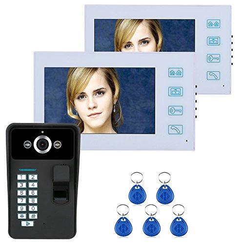 Timbell 7 Pulgadas TFT 2 Pantalla Dactilar Reconocimiento de Huellas Dactilares RFID Password Video Doorbell Timbre Cámara de Visión Nocturna Cámara CCTV