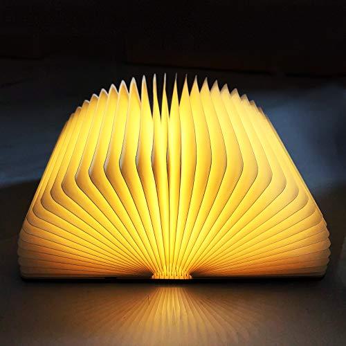 Calenxy LED Buchlampe,Buch Licht Hölzerne Faltbare LED Stimmungsbeleuchtung USB Aufladbare Warmweiß Schreibtisch Buch Licht Nachtlicht Nachttischlampe für Kinder Freundin Geschenk Home Decor