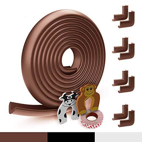 Protection des bords pour bébé en mousse| Original Hoffenbach® Germany | noir, brun, blanc | protecteur de bord de table 6,2m, 8x protecteur de coin, 2x protection des doigts | fabricant allemand