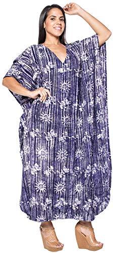 LA LEELA señoras Todo en 1 100% algodón Batik túnica Suelta Arriba Vestido de Noche del Bikini del Traje de baño del Kimono Boho encubren Vestido de Noche Loungewear Ropa de Playa Corto marrón caftán