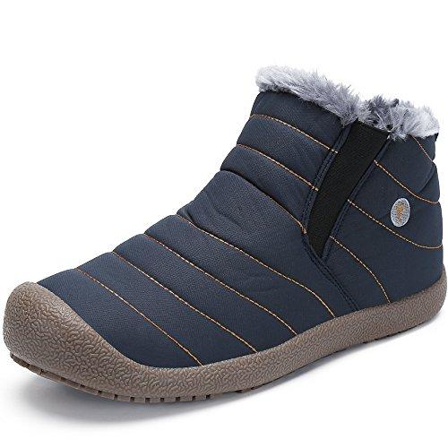SAGUARO® Herren Damen Winterschuhe Warm Gefütterte Boots Stiefelette Outdoor Schneestiefel Winter Schuhe (47 EU, High top blau)