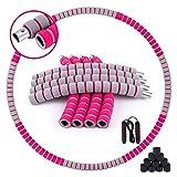 iNeibo Hula Hoops Fitness Aro De Hula Desmontable de 8 Secciones Hu-la Hoop con Peso De 90 cm con Tubo De Acero Inoxidable Y Espuma Espesa + Cuerda para Saltar
