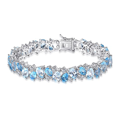 JewelryPalace Luxus 23ct Multi Swiss London Blau Topas Link Tennis Armband 925 Sterling Silber
