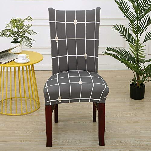 Fundas para sillas Rejilla Gris Fundas sillas Comedor Fundas elásticas, Fundas de Asiento para Silla,Diseño Jacquard Cubiertas de la sillas,para el Hogar, Restaurante, Bar(8 Piezas)