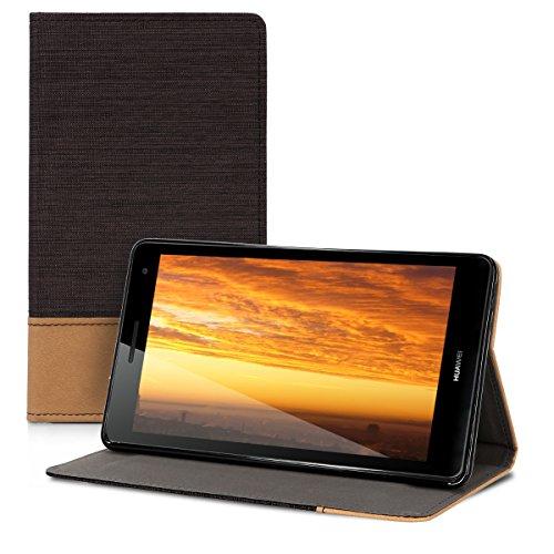 kwmobile Hülle kompatibel mit Huawei MediaPad T3 7.0 3G - Slim Tablet Cover Case Schutzhülle mit Ständer Schwarz Braun