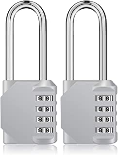 Long Shackle Padlock 2 Pack, 4 Digit Combination Padlock, Long Combination Lock, Resettable Weatherproof Combo Lock for School, Gym & Employee Locker, Outdoor, Fence